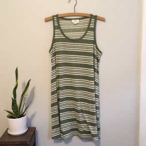 Loft Green and White Striped Dress | S
